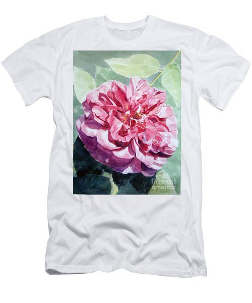 Watercolor Of A Pink Rose In Full Bloom Dedicated To Van Gogh Men's T-Shirt (Athletic Fit)