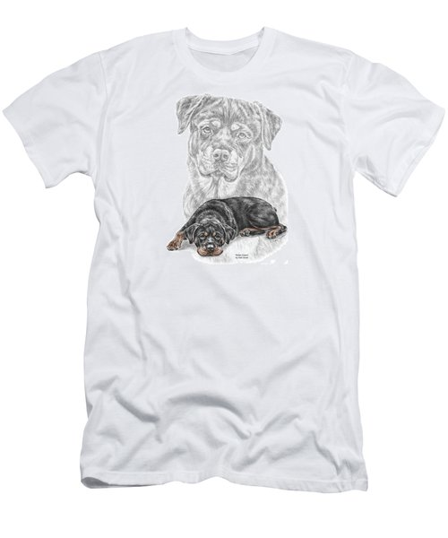 Men's T-Shirt (Slim Fit) featuring the drawing Rottie Charm - Rottweiler Dog Print With Color by Kelli Swan