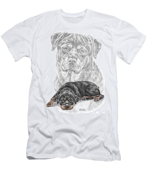 Rottie Charm - Rottweiler Dog Print With Color Men's T-Shirt (Athletic Fit)