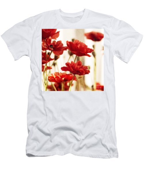 Ruby Red Poppy Flowers Men's T-Shirt (Athletic Fit)