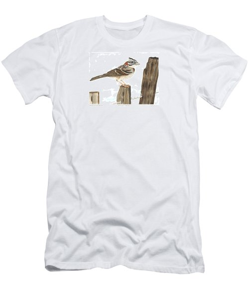 Rufous-collared Sparrow Men's T-Shirt (Slim Fit) by Cindy Hitchcock