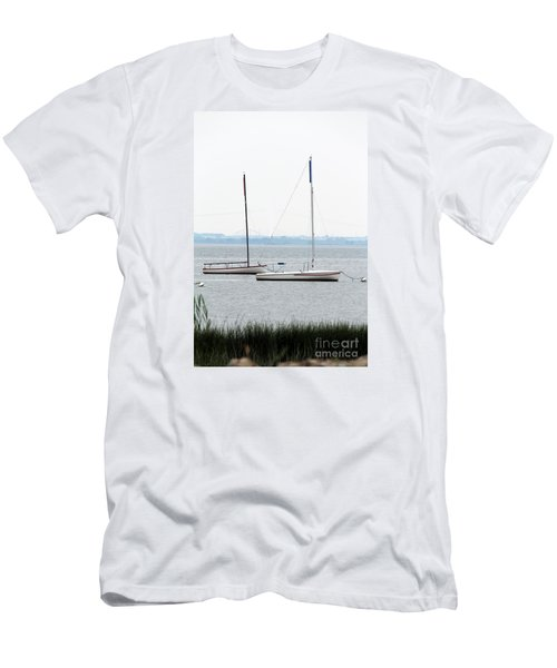 Sailboats In Battery Park Harbor Men's T-Shirt (Slim Fit) by David Jackson