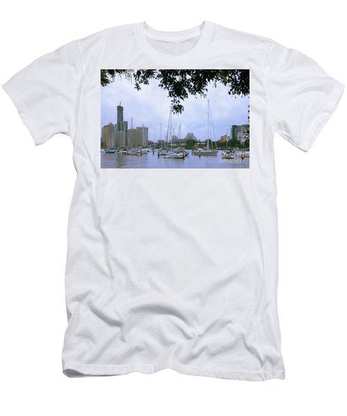 Sailboats In Brisbane Australia Men's T-Shirt (Athletic Fit)