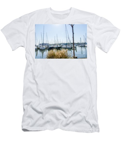Sailboats On Back Creek Men's T-Shirt (Slim Fit) by Charles Kraus