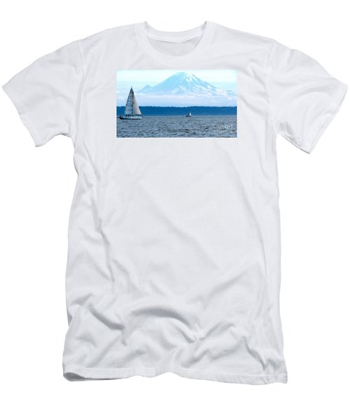 Sailing In Mt. Rainier's Shadow Men's T-Shirt (Athletic Fit)