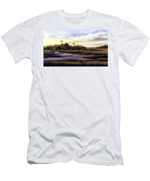 Saint Marks Wetland Sunset Men's T-Shirt (Slim Fit) by Lynn Palmer