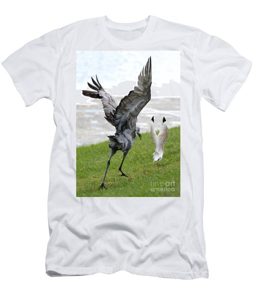 Sandhill Chasing Ibis Men's T-Shirt (Slim Fit) by Carol Groenen