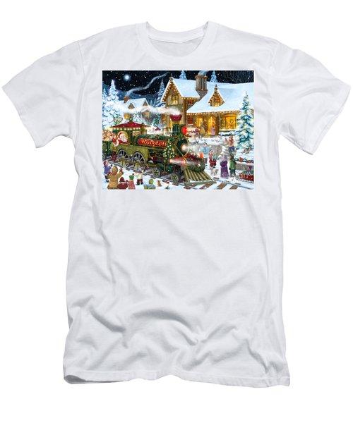 Santa Arrives In Rudolph Train Men's T-Shirt (Athletic Fit)