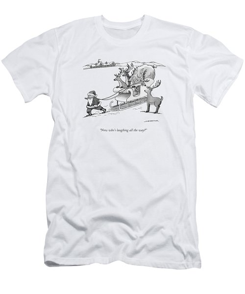 Santa Claus Pulls A Sleigh Full Of Reindeer Men's T-Shirt (Athletic Fit)