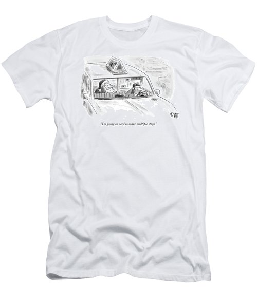 Santa In The Back Of A Cab Men's T-Shirt (Athletic Fit)