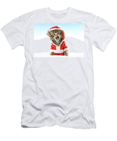 Santa Kitten Yawns Men's T-Shirt (Athletic Fit)