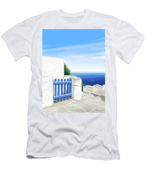 Santorini Men's T-Shirt (Slim Fit) by Veronica Minozzi