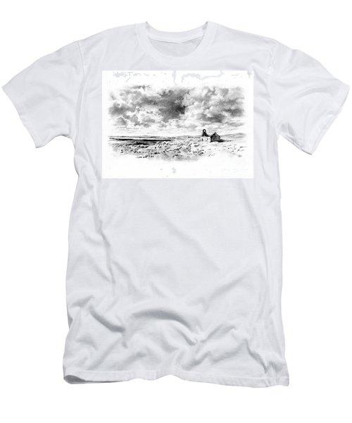 Men's T-Shirt (Slim Fit) featuring the drawing Bleak Chapel by Paul Davenport