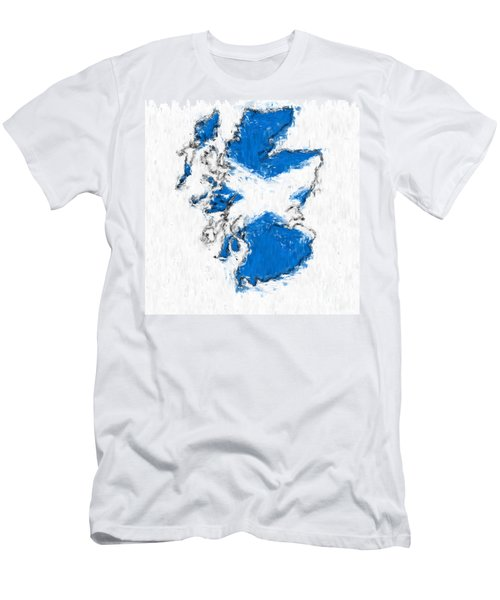 Scotland Painted Flag Map Men's T-Shirt (Athletic Fit)
