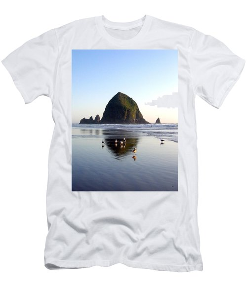 Seagulls And A Surfer Men's T-Shirt (Slim Fit) by Will Borden