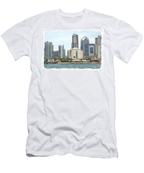 Seaport Village And Downtown San Diego Watercolor Men's T-Shirt (Athletic Fit)