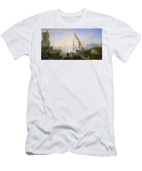 Seaport With Sunset Men's T-Shirt (Athletic Fit)