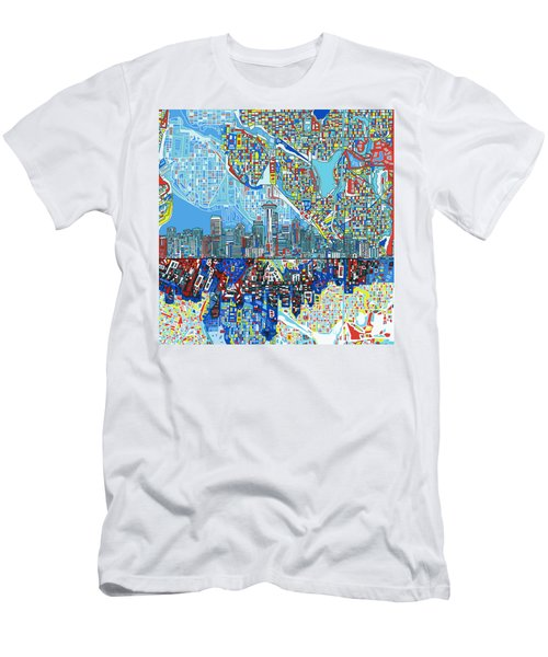 Seattle Skyline Abstract 7 Men's T-Shirt (Athletic Fit)