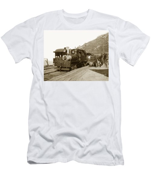 Men's T-Shirt (Slim Fit) featuring the photograph Shay No. 498 At The Summit Of Mt. Tamalpais Marin Co California Circa 1902 by California Views Mr Pat Hathaway Archives