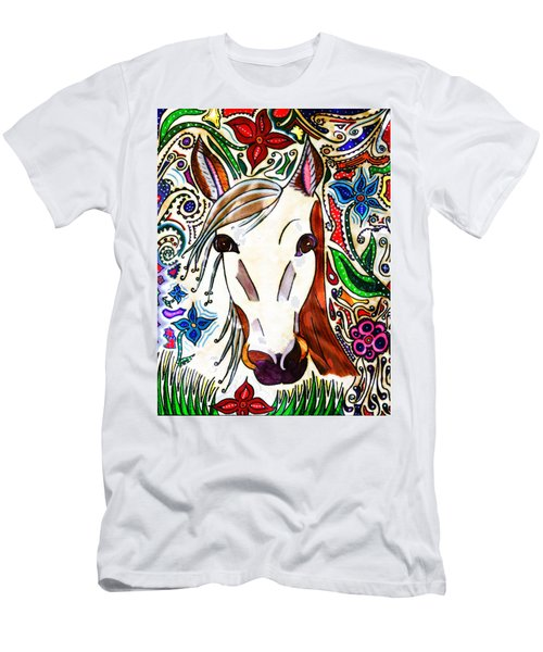 She Grazes Where Flowers Grow - Horse Men's T-Shirt (Athletic Fit)