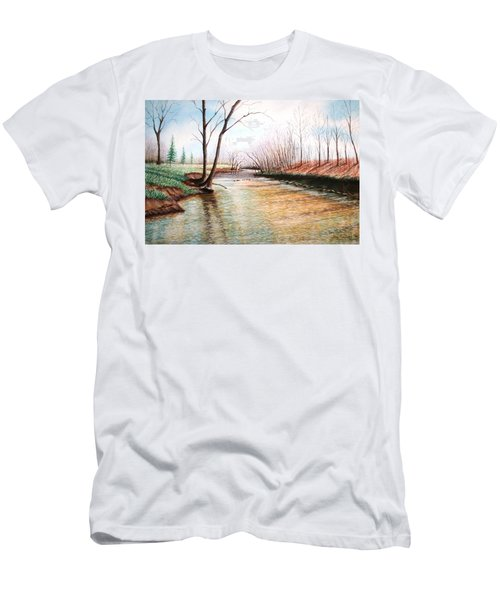 Men's T-Shirt (Slim Fit) featuring the pastel Shelby Stream by Stacy C Bottoms