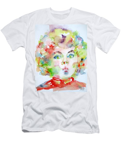 Shirley Temple - Watercolor Portrait.2 Men's T-Shirt (Slim Fit) by Fabrizio Cassetta