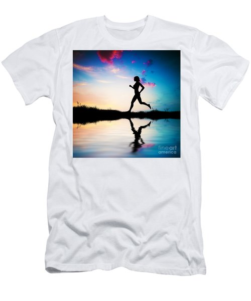 Silhouette Of Woman Running At Sunset Men's T-Shirt (Athletic Fit)