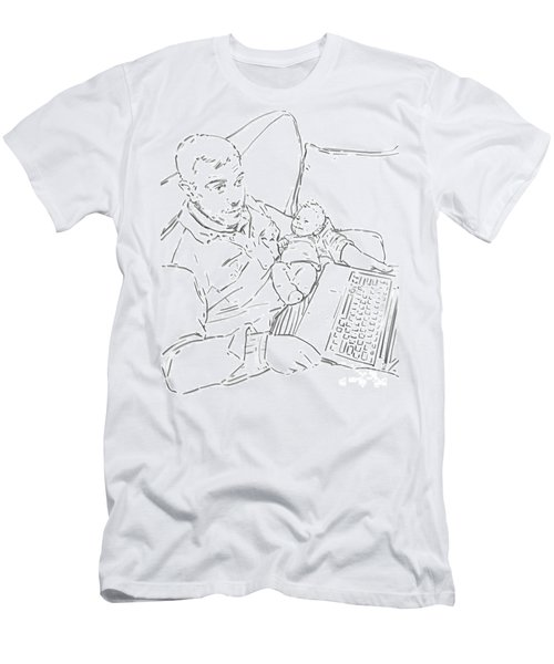 Men's T-Shirt (Slim Fit) featuring the drawing Sing Me To Sleep Daddy by Olimpia - Hinamatsuri Barbu