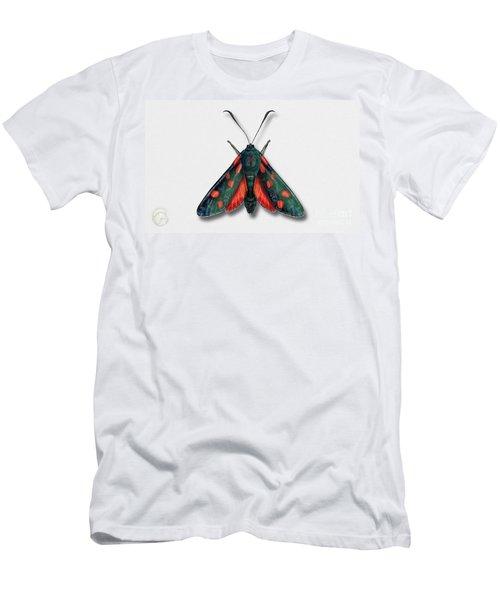 Six Spot Burnet Butterfly - Zygaena Filipendulae Naturalistic Painting - Nettersheim Eifel Men's T-Shirt (Athletic Fit)