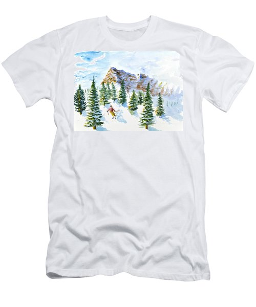 Skier In The Trees Men's T-Shirt (Athletic Fit)
