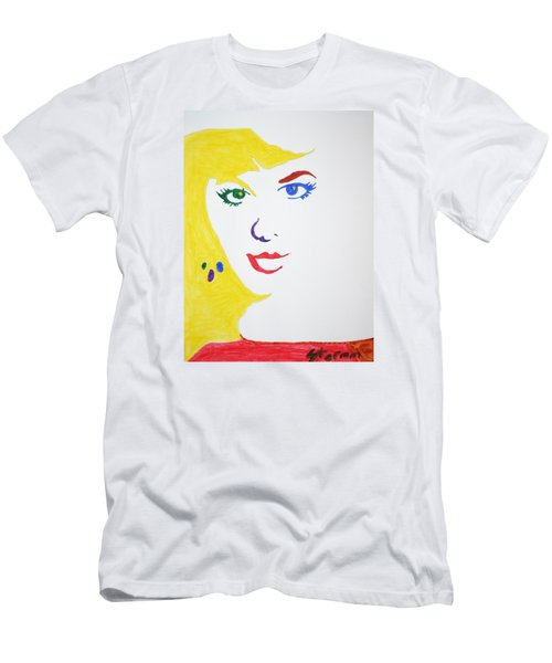 Men's T-Shirt (Slim Fit) featuring the painting Blonde Mother Nature by Stormm Bradshaw