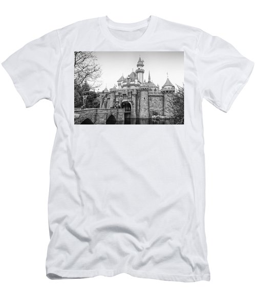 Sleeping Beauty Castle Disneyland Side View Bw Men's T-Shirt (Slim Fit) by Thomas Woolworth