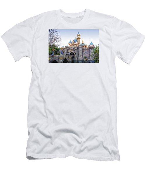 Sleeping Beauty Castle Disneyland Side View Men's T-Shirt (Slim Fit) by Thomas Woolworth