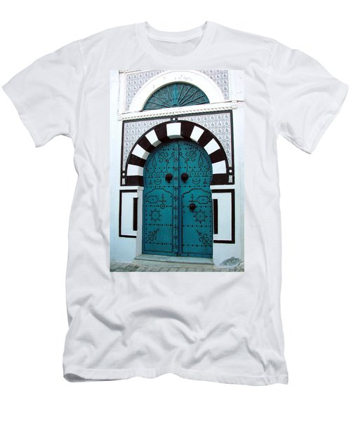Men's T-Shirt (Slim Fit) featuring the photograph Smiling Moon Door by Donna Corless
