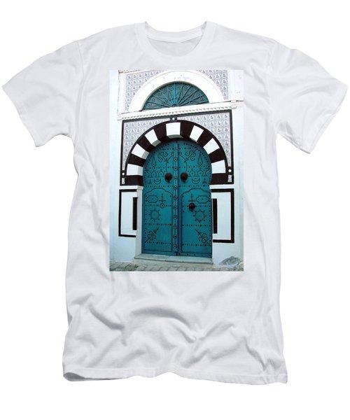 Smiling Moon Door Men's T-Shirt (Slim Fit) by Donna Corless