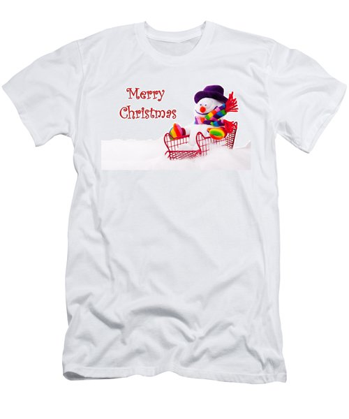 Men's T-Shirt (Slim Fit) featuring the photograph Snowman Riding In A Red Sleigh - Christmas  by Vizual Studio