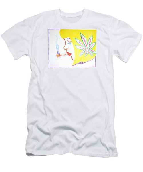 Men's T-Shirt (Slim Fit) featuring the painting Smoking Blonde by Stormm Bradshaw