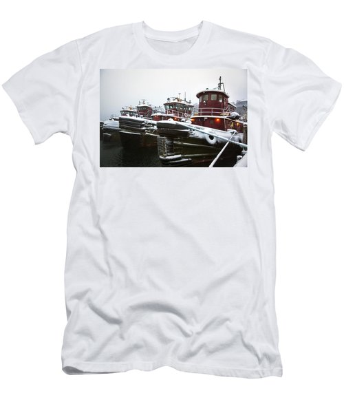 Snow Covered Tugboats Men's T-Shirt (Athletic Fit)