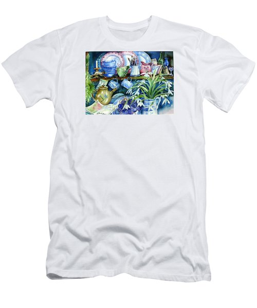 Snowdrops On A Kitchen Dresser Men's T-Shirt (Athletic Fit)