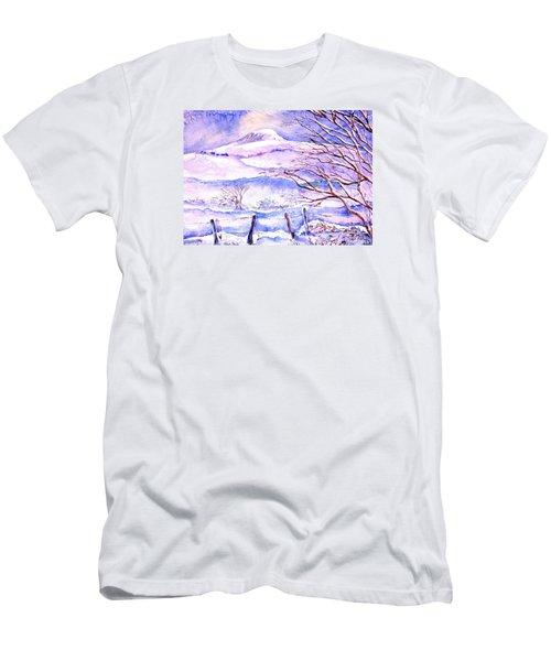 Snowfall On Eagle Hill Hacketstown Ireland  Men's T-Shirt (Slim Fit) by Trudi Doyle