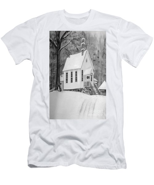 Snowy Gates Chapel -white Church - Portrait View Men's T-Shirt (Athletic Fit)