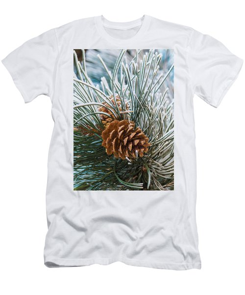 Snowy Pine Cones Men's T-Shirt (Athletic Fit)