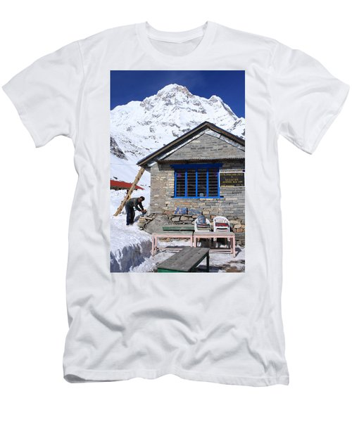 Men's T-Shirt (Athletic Fit) featuring the photograph South Annapurna Base Camp by Aidan Moran