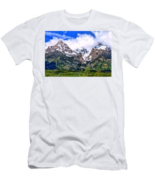 Men's T-Shirt (Slim Fit) featuring the painting Spring In The Grand Tetons by Michael Pickett