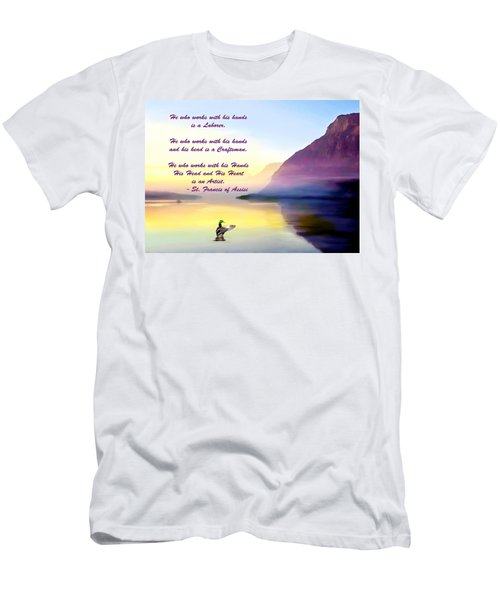St Francis Of Assisi Quotation Men's T-Shirt (Athletic Fit)
