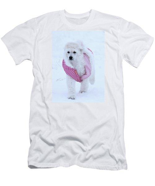 Standard Poodle In Winter Men's T-Shirt (Slim Fit) by Lisa  DiFruscio