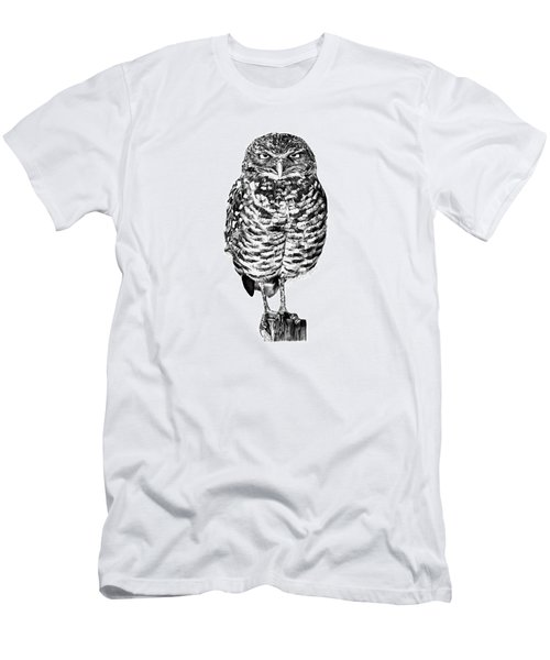 041 - Owl With Attitude Men's T-Shirt (Slim Fit) by Abbey Noelle