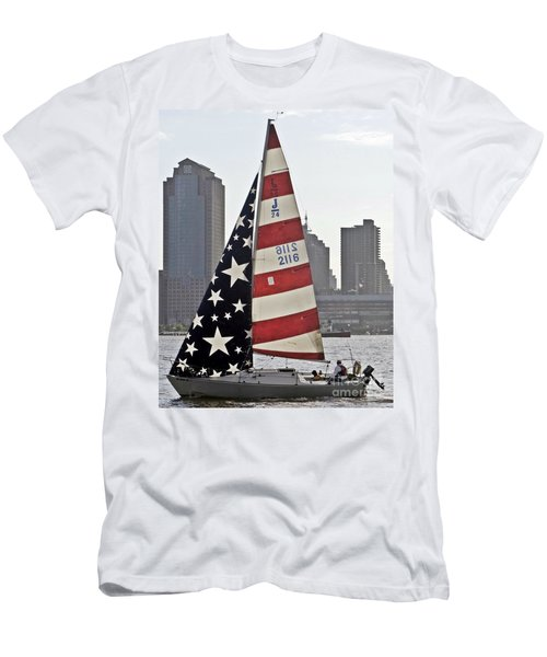 Men's T-Shirt (Slim Fit) featuring the photograph Star Spangled Sail  by Lilliana Mendez