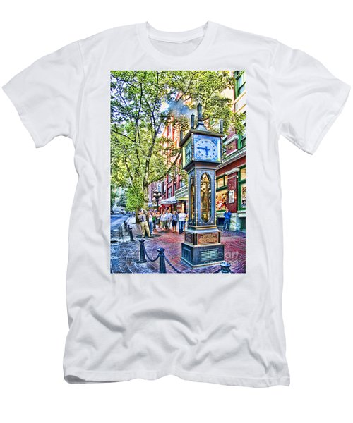 Steam Clock In Vancouver Gastown Men's T-Shirt (Slim Fit) by David Smith