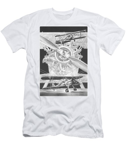 Stearman - Vintage Biplane Aviation Art Men's T-Shirt (Athletic Fit)